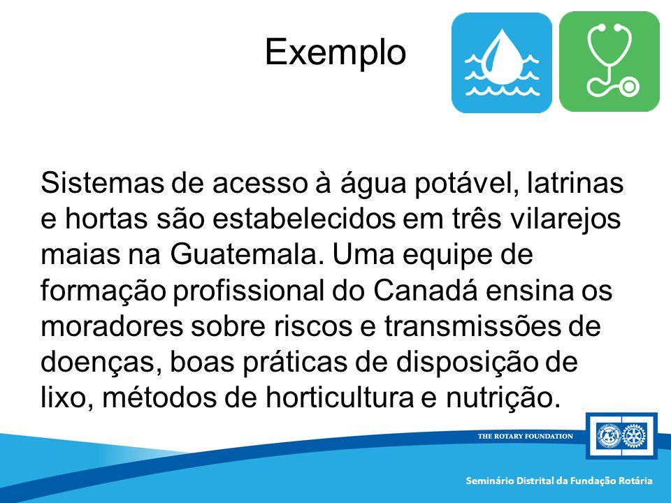Seminário Distrital da Fundação Rotária Sistemas de acesso à água potável, latrinas e hortas são estabelecidos em três vilarejos maias na Guatemala. U