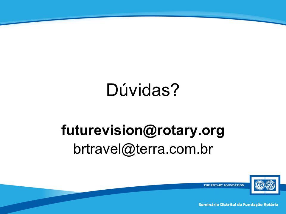 Seminário Distrital da Fundação Rotária Dúvidas? futurevision@rotary.org brtravel@terra.com.br