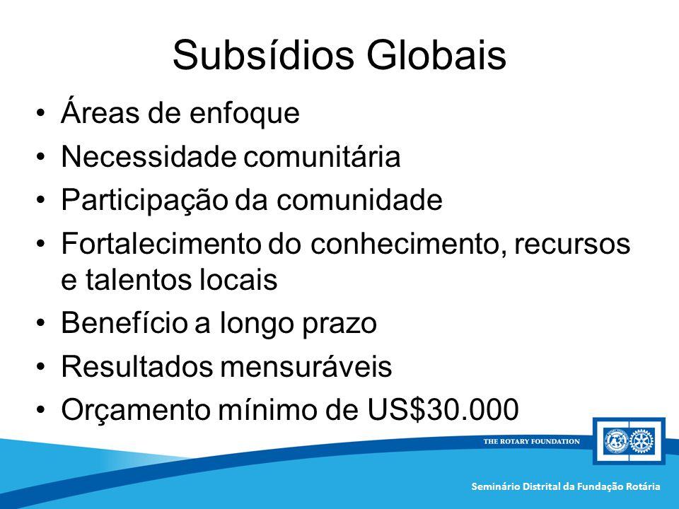 Seminário Distrital da Fundação Rotária Subsídios Globais Áreas de enfoque Necessidade comunitária Participação da comunidade Fortalecimento do conhec