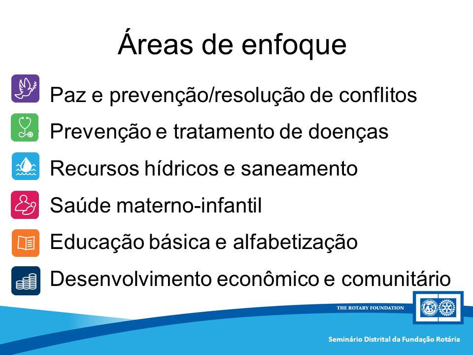 Seminário Distrital da Fundação Rotária Áreas de enfoque Paz e prevenção/resolução de conflitos Prevenção e tratamento de doenças Recursos hídricos e
