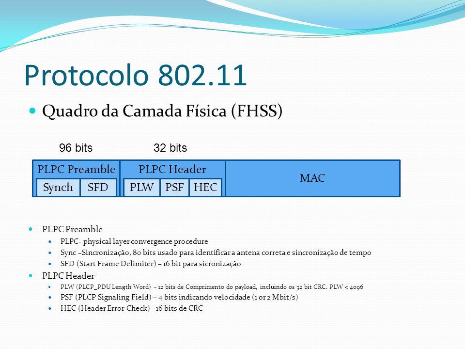 Quadro da Camada Física (DSSS) PLPC Preamble PLPC- physical layer convergence procedure Sync –Sincronização, 128 bits usado para identificar a antena correta, controlo do ganho, detecção de energia SFD (Start Frame Delimiter) – 16 bits para sicronização PLPC Header PLW (PLCP_PDU Length Word) – 16 bits de Comprimento do payload, incluindo os 32 bit CRC.