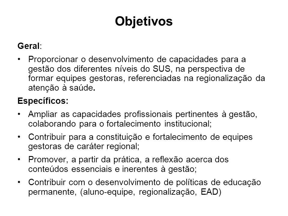 Objetivos Geral: Proporcionar o desenvolvimento de capacidades para a gestão dos diferentes níveis do SUS, na perspectiva de formar equipes gestoras, referenciadas na regionalização da atenção à saúde.