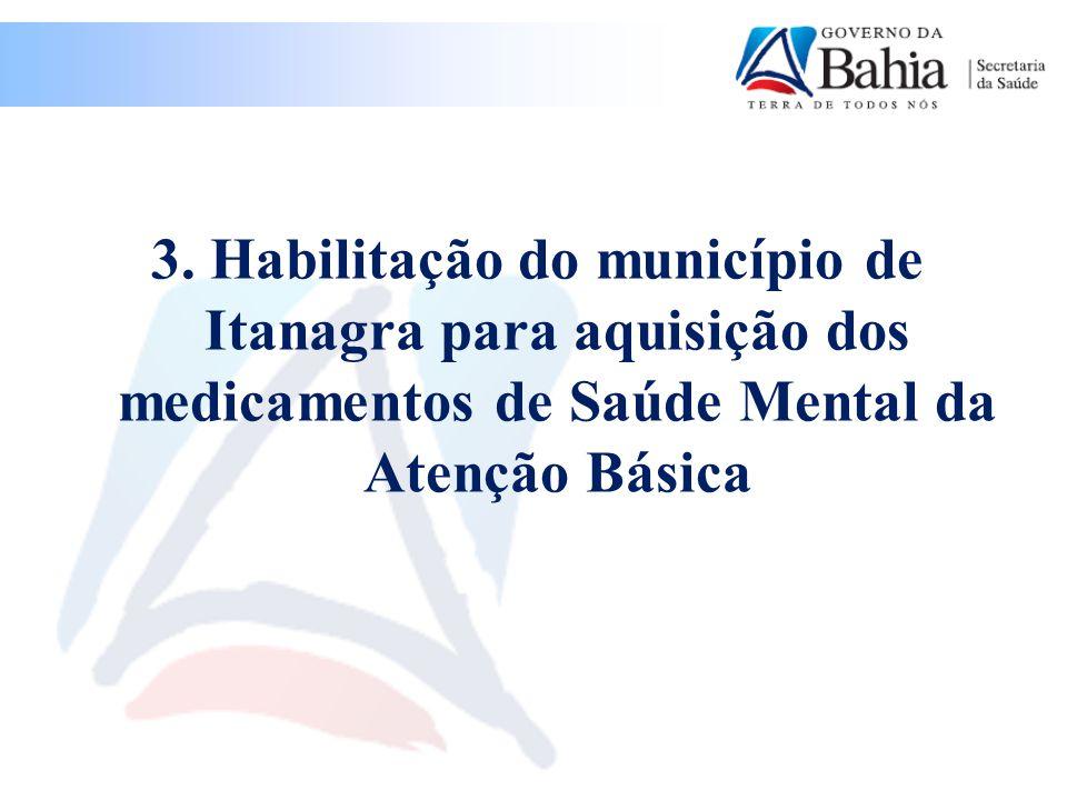 3. Habilitação do município de Itanagra para aquisição dos medicamentos de Saúde Mental da Atenção Básica