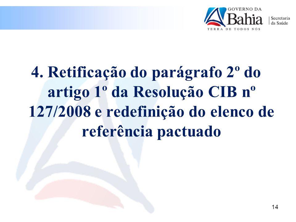 4. Retificação do parágrafo 2º do artigo 1º da Resolução CIB nº 127/2008 e redefinição do elenco de referência pactuado 14