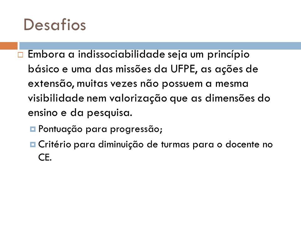 Desafios  Embora a indissociabilidade seja um princípio básico e uma das missões da UFPE, as ações de extensão, muitas vezes não possuem a mesma visi
