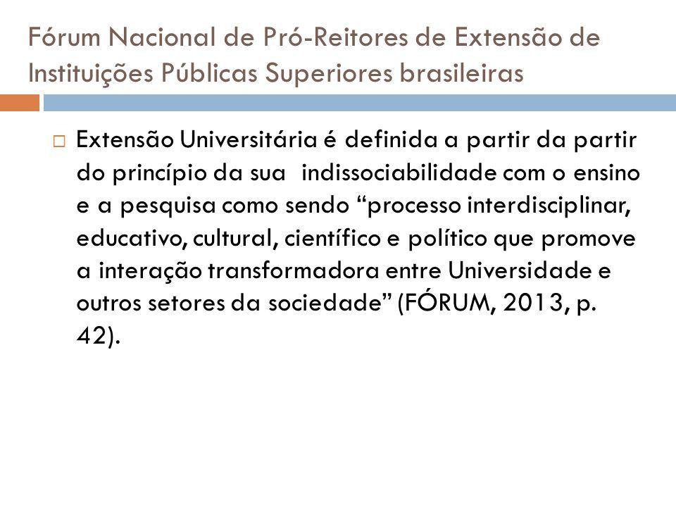 Fórum Nacional de Pró-Reitores de Extensão de Instituições Públicas Superiores brasileiras  Extensão Universitária é definida a partir da partir do p