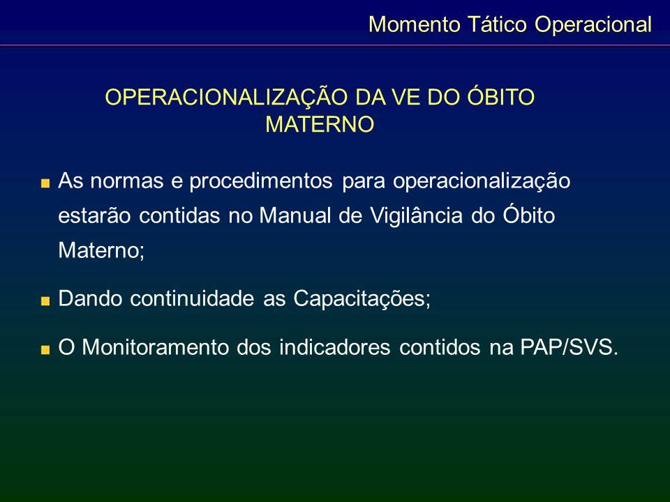 Momento Tático Operacional OPERACIONALIZAÇÃO DA VE DO ÓBITO MATERNO As normas e procedimentos para operacionalização estarão contidas no Manual de Vig