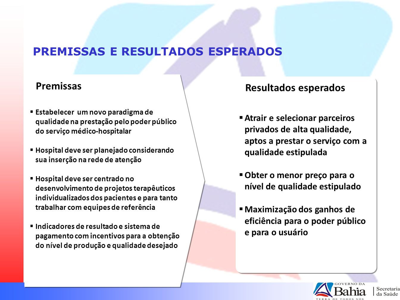 PREMISSAS E RESULTADOS ESPERADOS  Estabelecer um novo paradigma de qualidade na prestação pelo poder público do serviço médico-hospitalar  Hospital