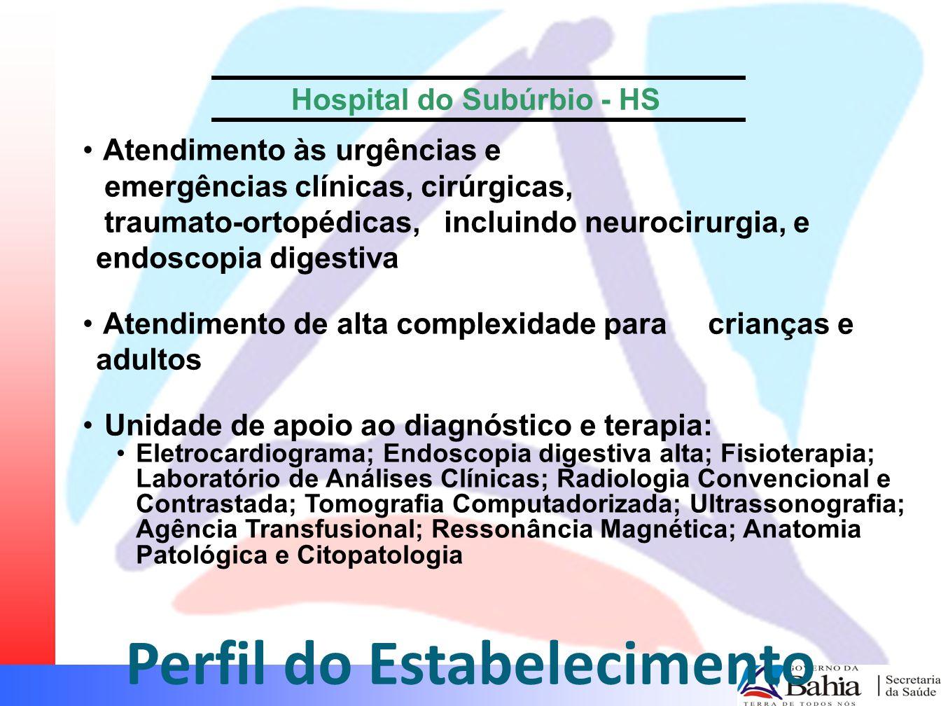 Perfil do Estabelecimento Atendimento às urgências e emergências clínicas, cirúrgicas, traumato-ortopédicas, incluindo neurocirurgia, e endoscopia dig
