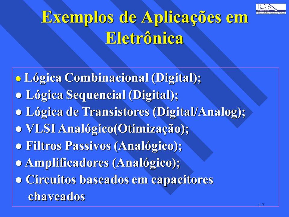 12 Exemplos de Aplicações em Eletrônica l Lógica Combinacional (Digital); l Lógica Sequencial (Digital); l Lógica de Transistores (Digital/Analog); l