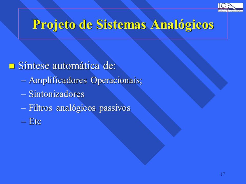 17 Projeto de Sistemas Analógicos n Síntese automática de: –Amplificadores Operacionais; –Sintonizadores –Filtros analógicos passivos –Etc