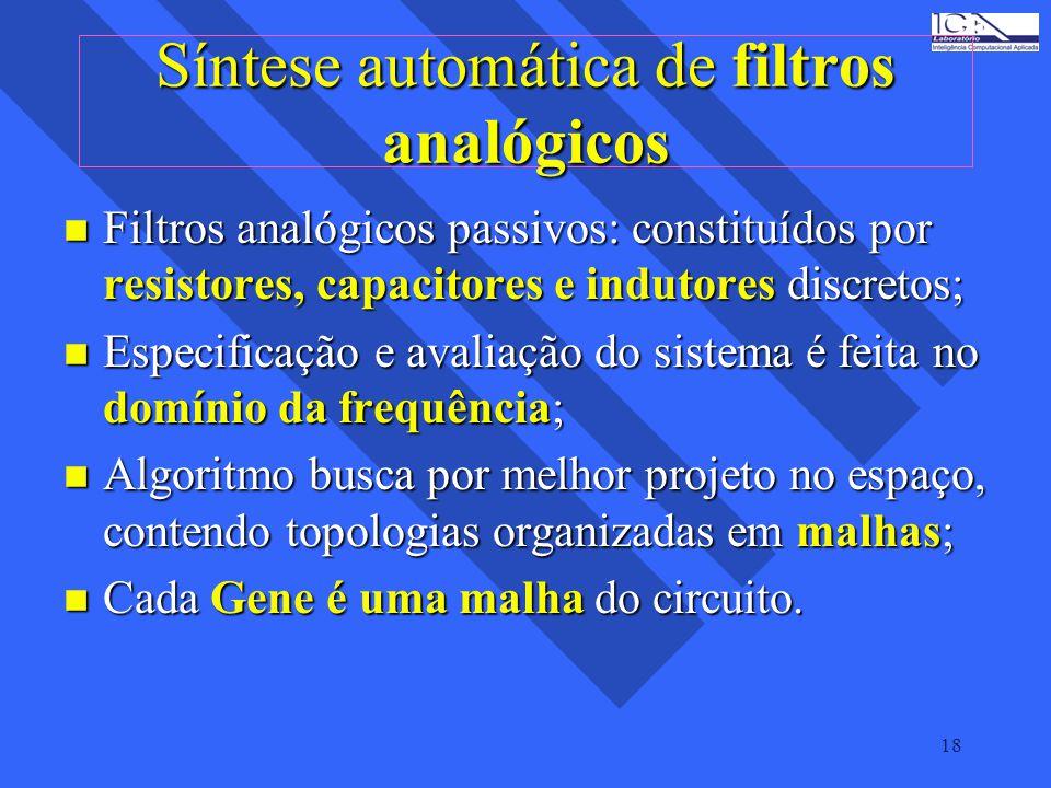 18 Síntese automática de filtros analógicos n Filtros analógicos passivos: constituídos por resistores, capacitores e indutores discretos; n Especific