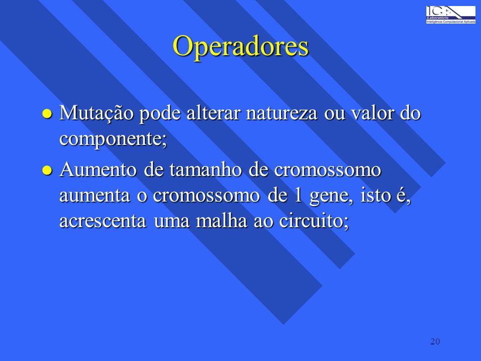 20 Operadores l Mutação pode alterar natureza ou valor do componente; l Aumento de tamanho de cromossomo aumenta o cromossomo de 1 gene, isto é, acres