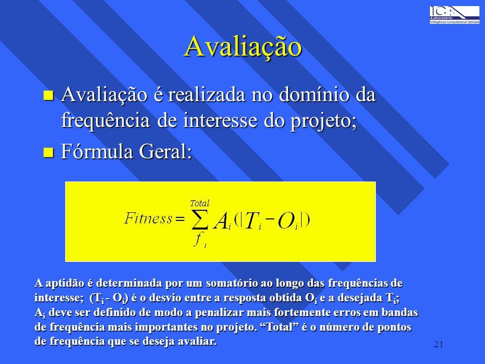 21 Avaliação n Avaliação é realizada no domínio da frequência de interesse do projeto; n Fórmula Geral: A aptidão é determinada por um somatório ao lo