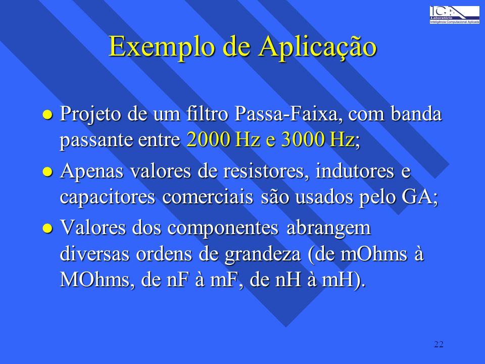 22 Exemplo de Aplicação l Projeto de um filtro Passa-Faixa, com banda passante entre 2000 Hz e 3000 Hz; l Apenas valores de resistores, indutores e ca