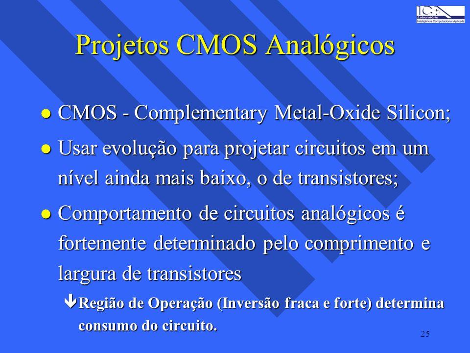 25 Projetos CMOS Analógicos l CMOS - Complementary Metal-Oxide Silicon; l Usar evolução para projetar circuitos em um nível ainda mais baixo, o de tra