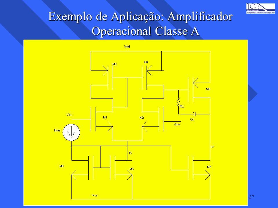 27 Exemplo de Aplicação: Amplificador Operacional Classe A