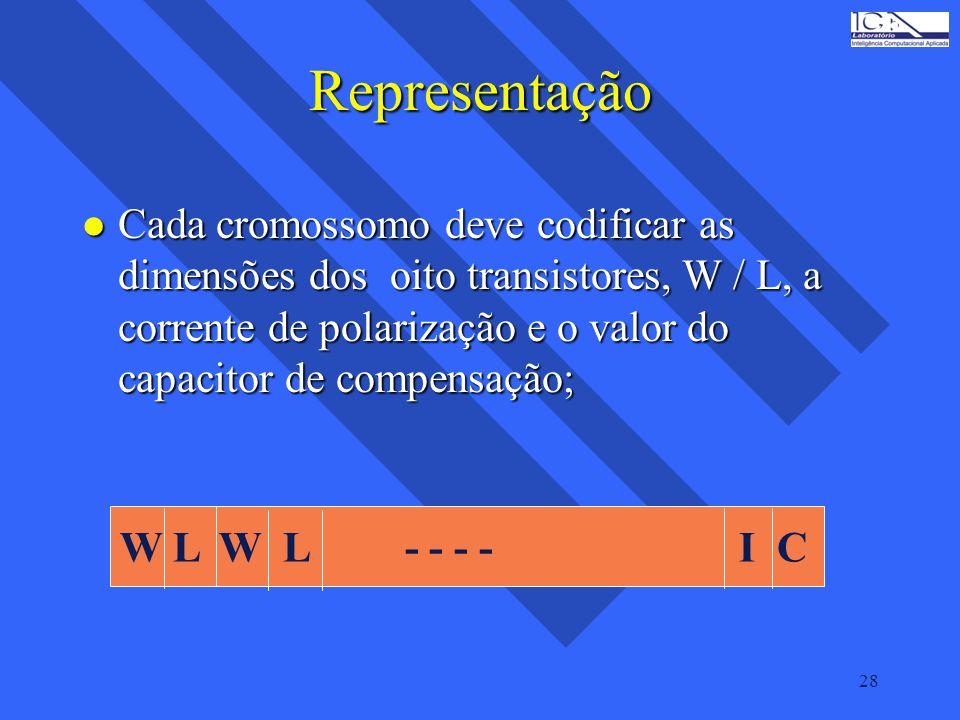 28 Representação l Cada cromossomo deve codificar as dimensões dos oito transistores, W / L, a corrente de polarização e o valor do capacitor de compe