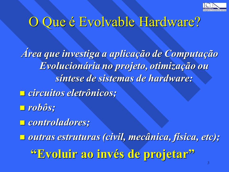 3 O Que é Evolvable Hardware? Área que investiga a aplicação de Computação Evolucionária no projeto, otimização ou síntese de sistemas de hardware: n