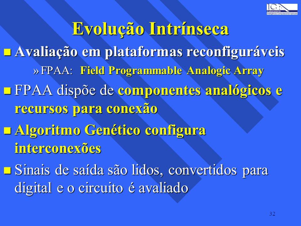 32 Evolução Intrínseca n Avaliação em plataformas reconfiguráveis »FPAA: Field Programmable Analogic Array n FPAA dispõe de componentes analógicos e r