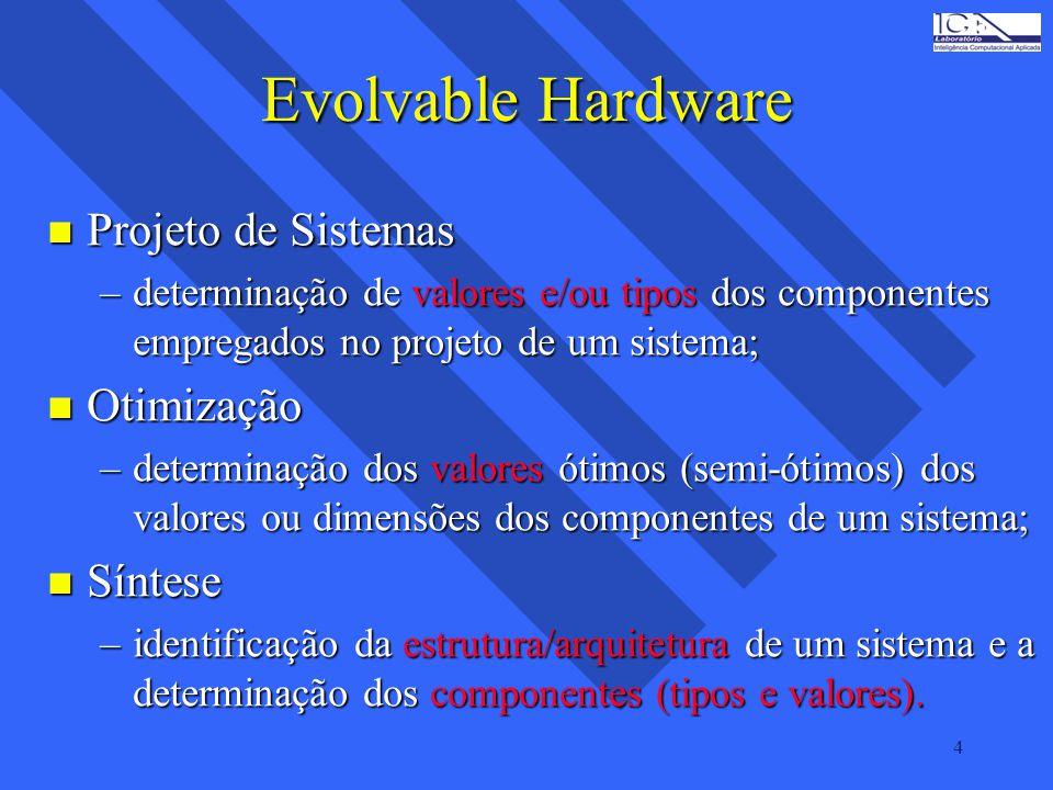 4 Evolvable Hardware n Projeto de Sistemas –determinação de valores e/ou tipos dos componentes empregados no projeto de um sistema; n Otimização –dete
