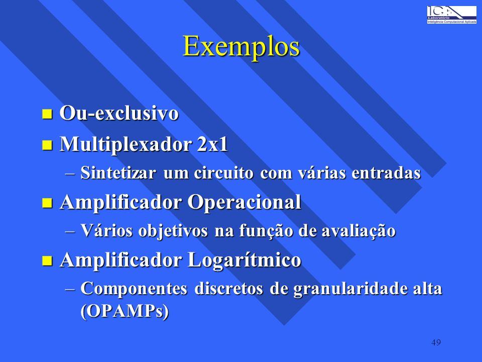 49 Exemplos n Ou-exclusivo n Multiplexador 2x1 –Sintetizar um circuito com várias entradas n Amplificador Operacional –Vários objetivos na função de a