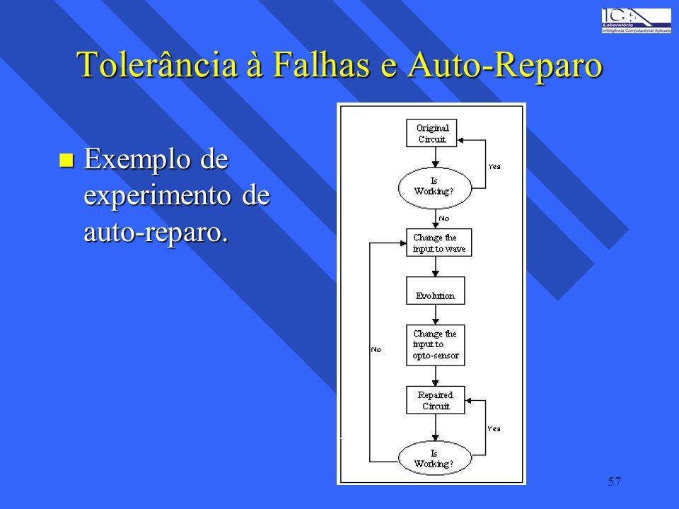 57 Tolerância à Falhas e Auto-Reparo n Exemplo de experimento de auto-reparo.