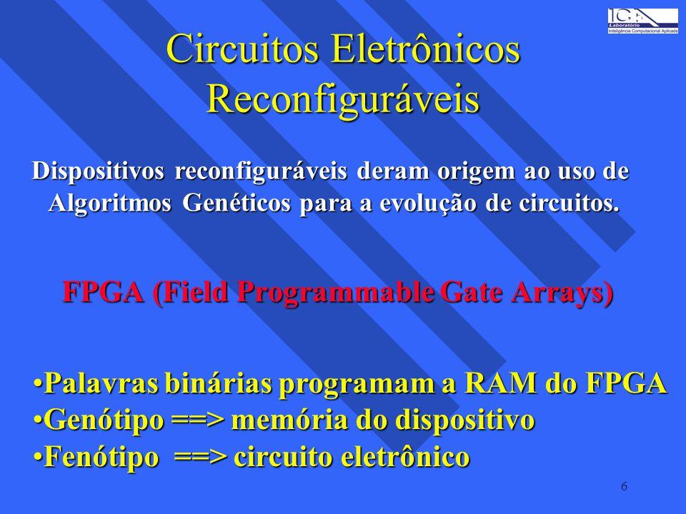 6 Circuitos Eletrônicos Reconfiguráveis FPGA (Field Programmable Gate Arrays) Palavras binárias programam a RAM do FPGAPalavras binárias programam a R