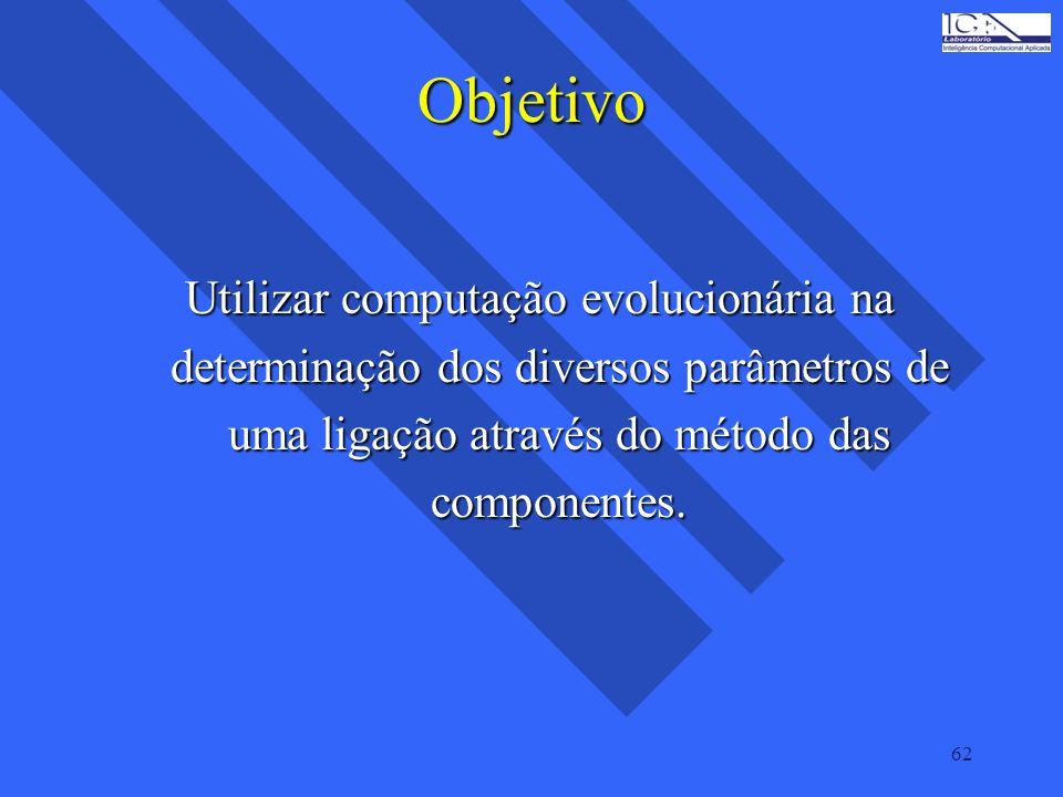 62 Objetivo Utilizar computação evolucionária na determinação dos diversos parâmetros de uma ligação através do método das componentes.