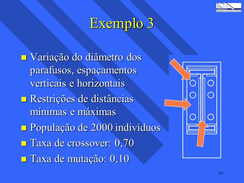 66 Exemplo 3 n Variação do diâmetro dos parafusos, espaçamentos verticais e horizontais n Restrições de distâncias mínimas e máximas n População de 20