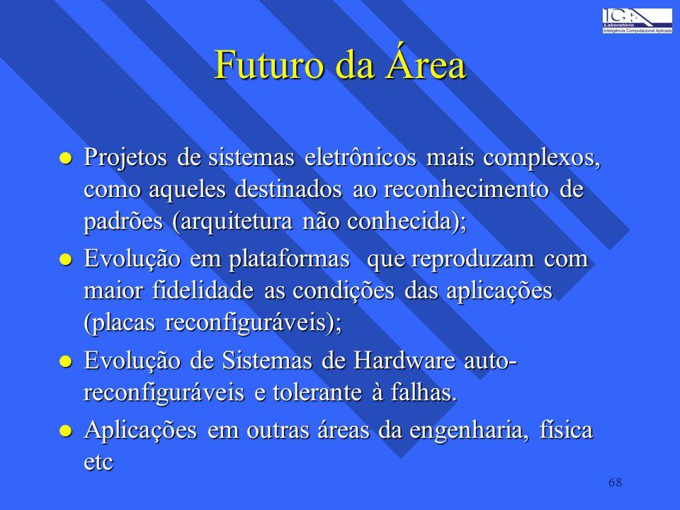 68 Futuro da Área l Projetos de sistemas eletrônicos mais complexos, como aqueles destinados ao reconhecimento de padrões (arquitetura não conhecida); l Evolução em plataformas que reproduzam com maior fidelidade as condições das aplicações (placas reconfiguráveis); l Evolução de Sistemas de Hardware auto- reconfiguráveis e tolerante à falhas.