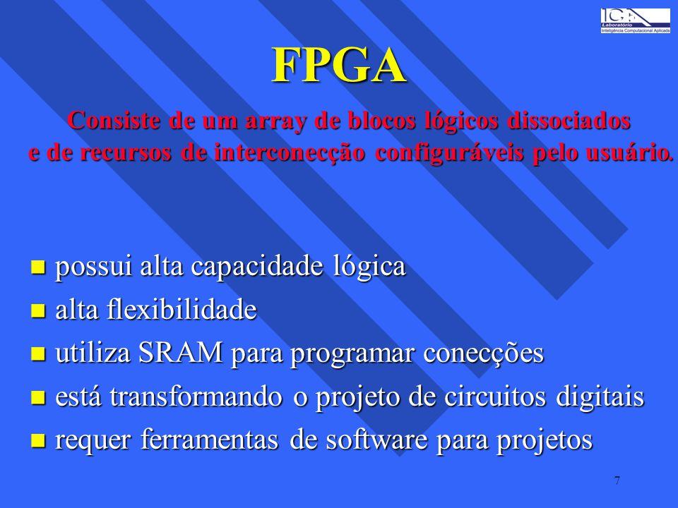7 FPGA n possui alta capacidade lógica n alta flexibilidade n utiliza SRAM para programar conecções n está transformando o projeto de circuitos digita