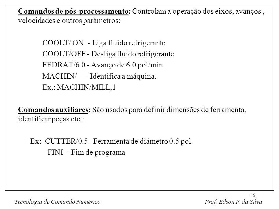 16 Comandos de pós-processamento: Controlam a operação dos eixos, avanços, velocidades e outros parâmetros: COOLT/ ON - Liga fluido refrigerante COOLT