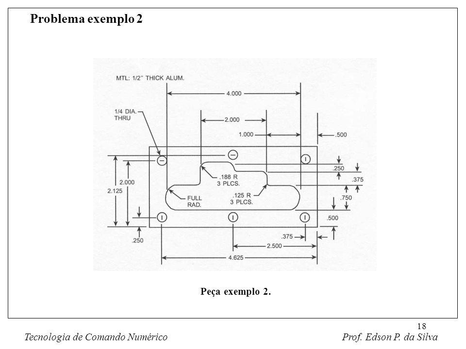 18 Problema exemplo 2 Tecnologia de Comando Numérico Prof. Edson P. da Silva Peça exemplo 2.