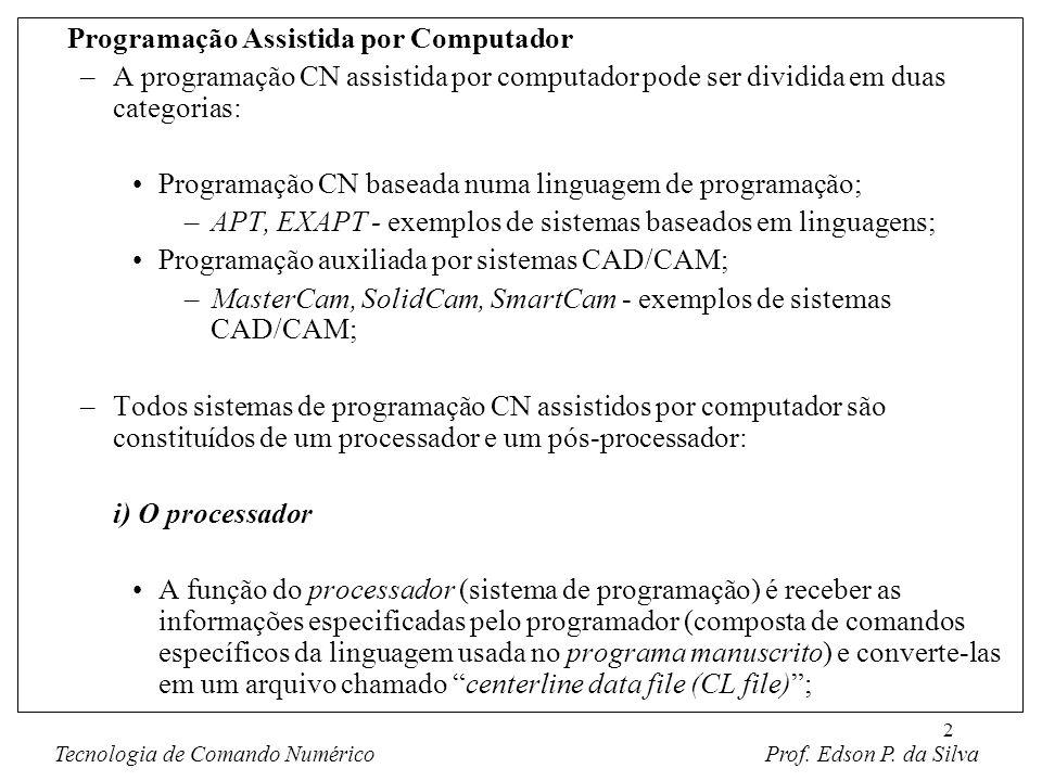 2 Programação Assistida por Computador –A programação CN assistida por computador pode ser dividida em duas categorias: Programação CN baseada numa li