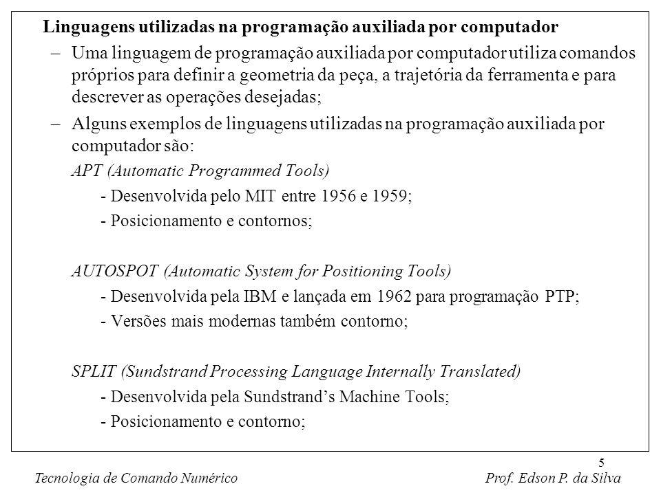 5 Linguagens utilizadas na programação auxiliada por computador –Uma linguagem de programação auxiliada por computador utiliza comandos próprios para