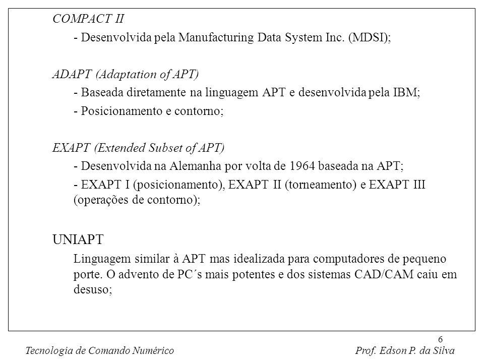 6 COMPACT II - Desenvolvida pela Manufacturing Data System Inc. (MDSI); ADAPT (Adaptation of APT) - Baseada diretamente na linguagem APT e desenvolvid