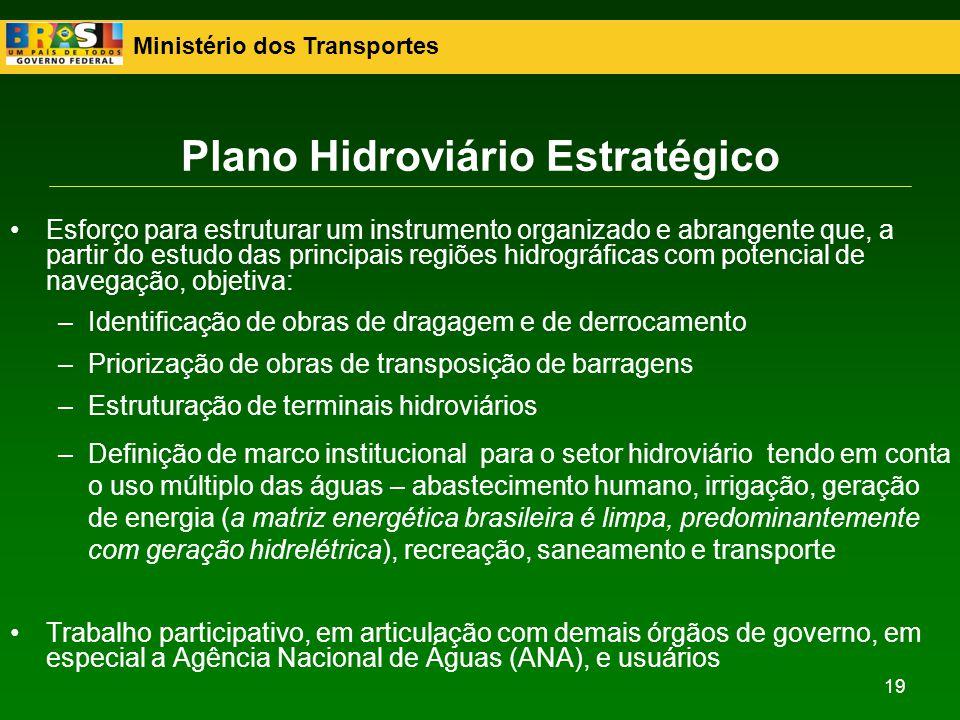 Ministério dos Transportes 19 Esforço para estruturar um instrumento organizado e abrangente que, a partir do estudo das principais regiões hidrográfi