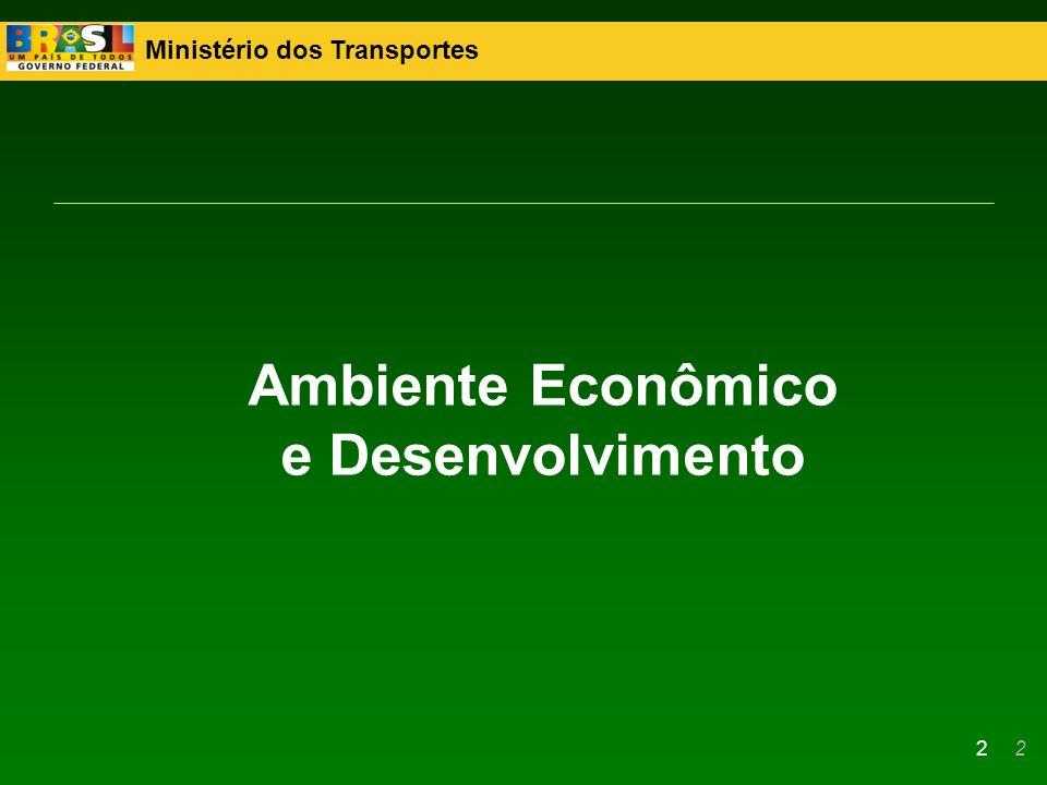 Ministério dos Transportes 23 O Brasil passou por extenso período de sub-investimento em infraestrutura logística A melhoria das condições econômicas permitiu: –Recuperação da capacidade de investimento público –Clima favorável para parcerias com o setor privado Concessões rodoviárias Concessões ferroviárias Antecedentes