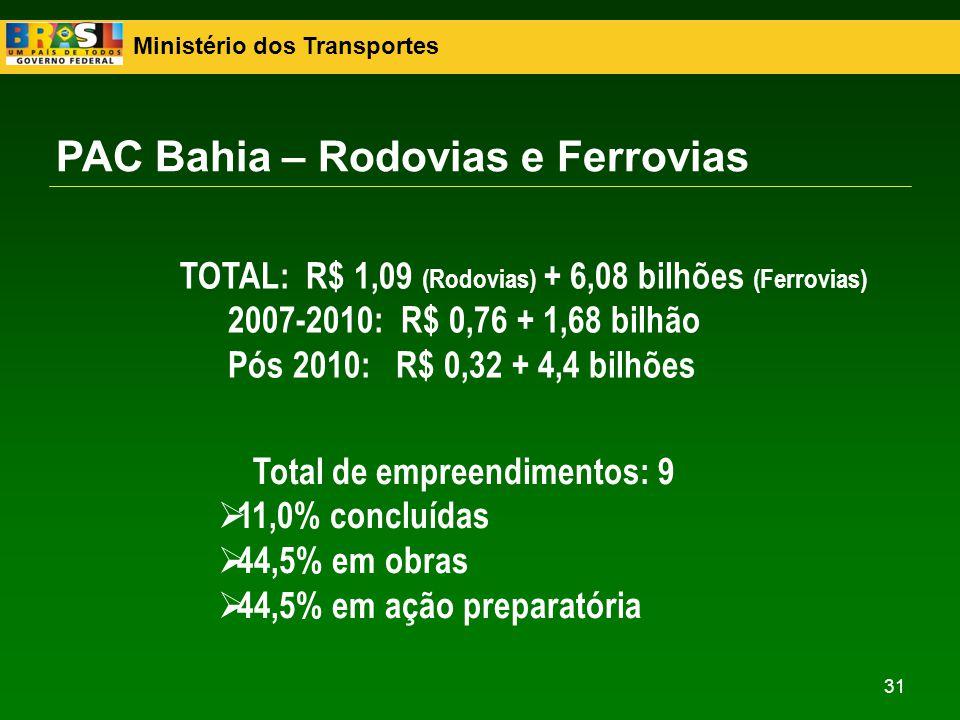 Ministério dos Transportes 31 PAC Bahia – Rodovias e Ferrovias TOTAL: R$ 1,09 (Rodovias) + 6,08 bilhões (Ferrovias) 2007-2010: R$ 0,76 + 1,68 bilhão P