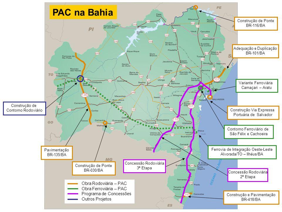 33 135 116 418 Construção de Contorno Rodoviário Construção de Ponte BR-030/BA Construção e Pavimentação BR-418/BA Concessão Rodoviária 3ª Etapa Varia