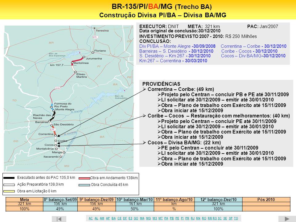 41 BR-135/PI/BA/MG (Trecho BA) Construção Divisa PI/BA – Divisa BA/MG PROVIDÊNCIAS  Correntina – Coribe: (49 km)  Projeto pelo Centran – concluir PB