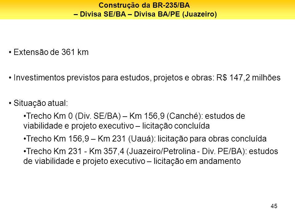 45 Extensão de 361 km Investimentos previstos para estudos, projetos e obras: R$ 147,2 milhões Situação atual: Trecho Km 0 (Div. SE/BA) – Km 156,9 (Ca