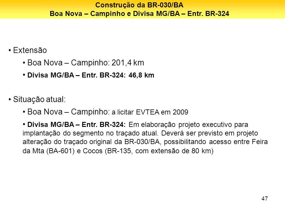 47 Extensão Boa Nova – Campinho: 201,4 km Divisa MG/BA – Entr. BR-324: 46,8 km Situação atual: Boa Nova – Campinho: a licitar EVTEA em 2009 Divisa MG/