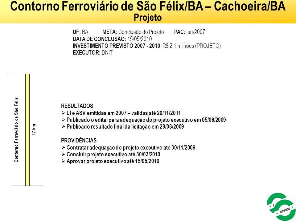 51 UF: BA META: Conclusão do Projeto PAC: jan/2007 DATA DE CONCLUSÃO: 15/05/2010 INVESTIMENTO PREVISTO 2007 - 2010 : R$ 2,1 milhões (PROJETO) EXECUTOR