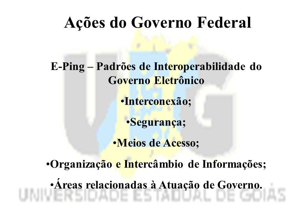 Ações do Governo Federal E-Ping – Padrões de Interoperabilidade do Governo Eletrônico Interconexão; Segurança; Meios de Acesso; Organização e Intercâmbio de Informações; Áreas relacionadas à Atuação de Governo.
