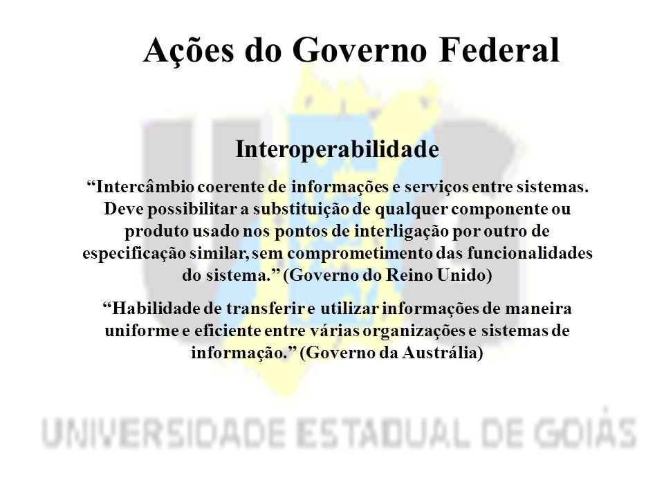 Ações do Governo Federal Interoperabilidade Intercâmbio coerente de informações e serviços entre sistemas.