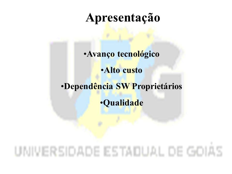 Apresentação Avanço tecnológico Alto custo Dependência SW Proprietários Qualidade