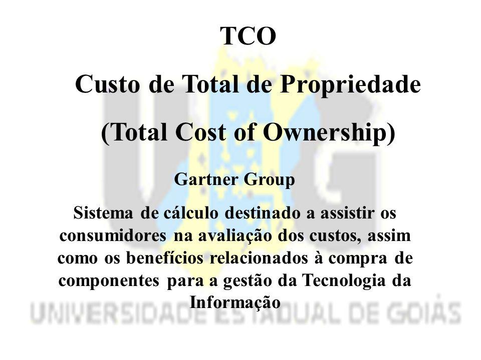 TCO Custo de Total de Propriedade (Total Cost of Ownership) Gartner Group Sistema de cálculo destinado a assistir os consumidores na avaliação dos custos, assim como os benefícios relacionados à compra de componentes para a gestão da Tecnologia da Informação
