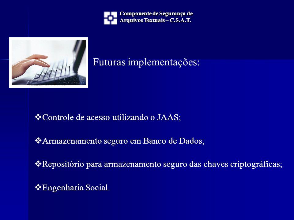 Futuras implementações:  Controle de acesso utilizando o JAAS;  Armazenamento seguro em Banco de Dados;  Repositório para armazenamento seguro das